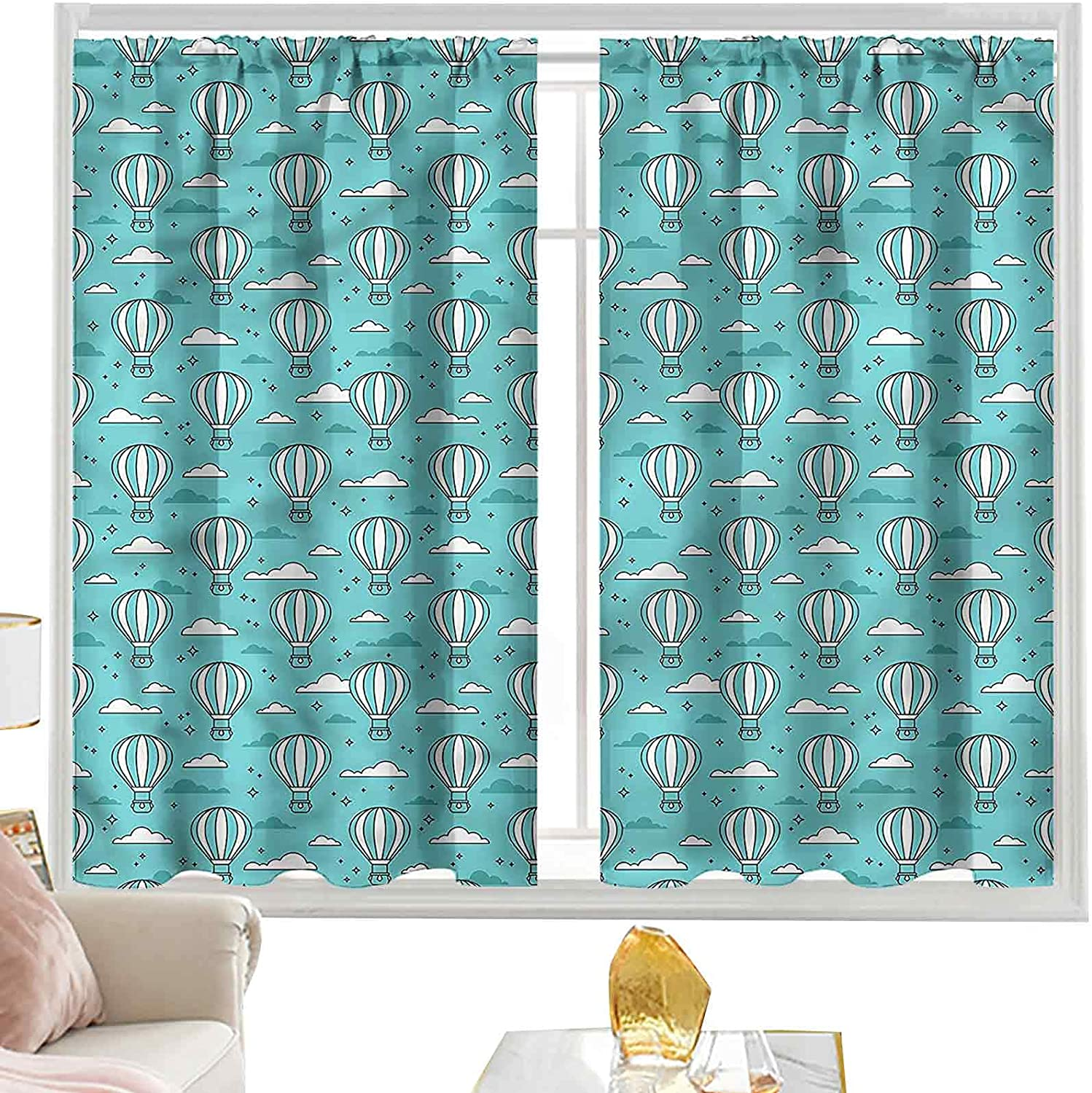 Max 68% OFF Thermal Curtains Turquoise and White Air Ranking TOP3 Balloon I L63 x W42 Sky