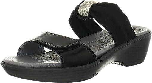Black Madras Leather/Black Stretch