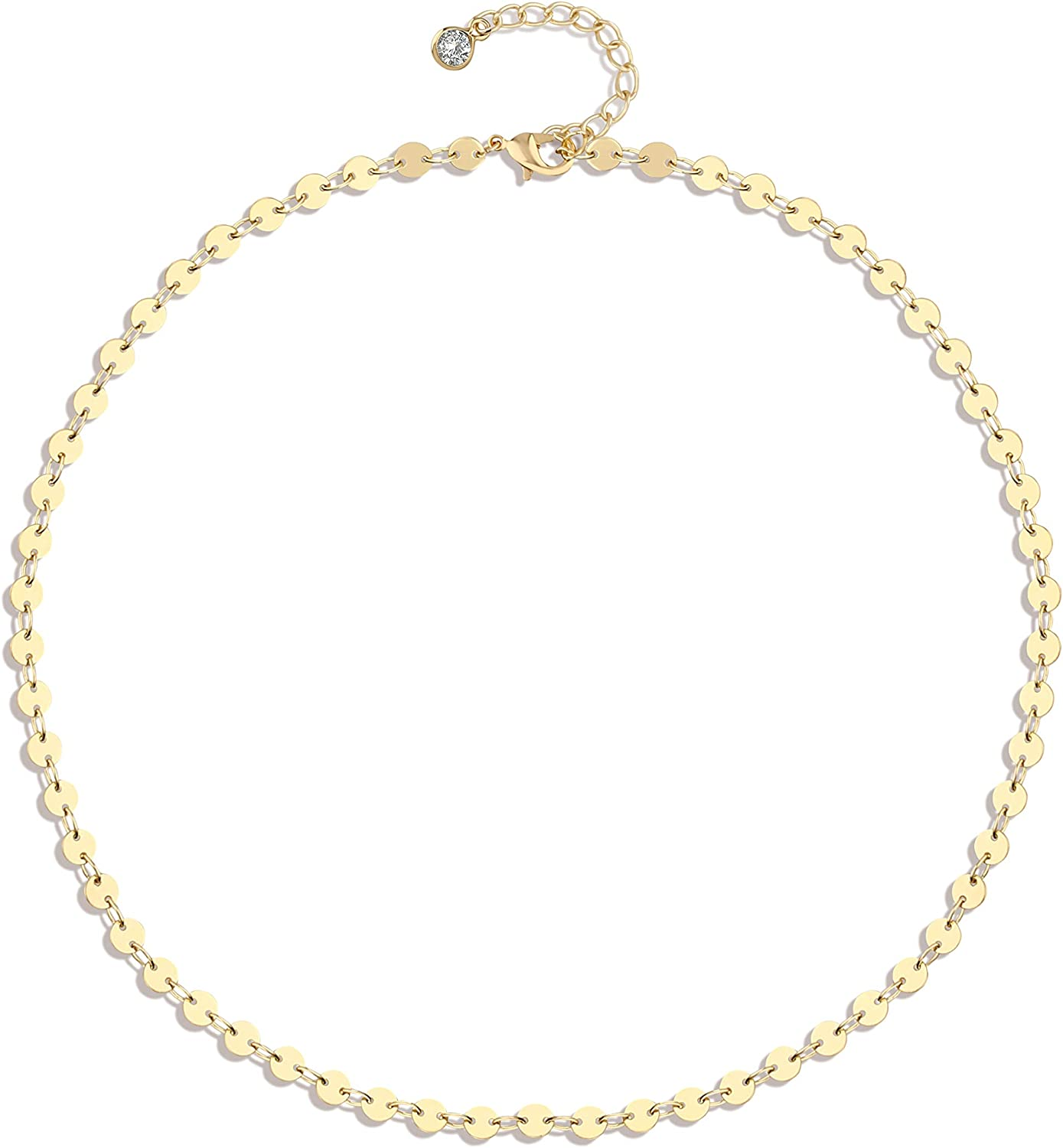 Fettero Layered Chain Necklace Gold Choker Satellite Bead Dainty Thin 14K Gold Plated Minimalist Simple Boho Trendy Jewelry Gift for Women Men