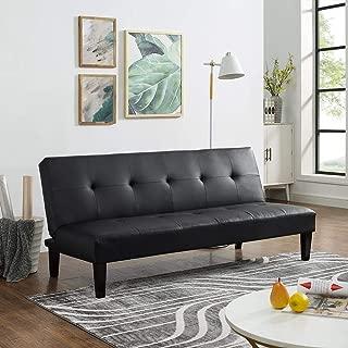 Naomi Home Button Tufted Futon Sofa Bed Black