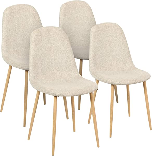Magshion Side Metal Legs Cushion Seat Back Dining Room Chairs Set Of 4 Cookie