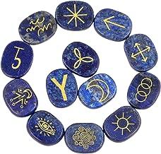 rockcloud Healing Crystal Lapis Lazuli Gypsy Symbol Witches Rune Set Chakra Stones Palm Stone Reiki Balancing, 13 Pcs