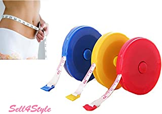Sell4Style Body Tape Measure Automatic Retractable Measuring Tape Set 60 Inches 1.5 Meter With One Soft Tape Measuring (Assort Color)