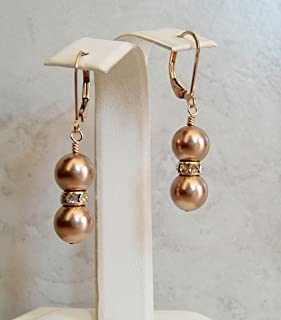 Champagne Beige Round Simulated Pearl Gold Filled Leverback Earrings Gift Idea