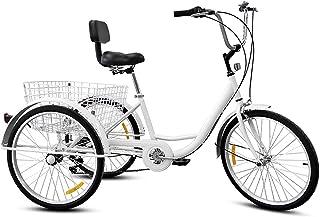 DYJD Adulte Tricycle Vélo 24 Pouces Velos pour Les Loisirs Et Shopping Réglable en Hauteur Et Panier Arrière,Blanc