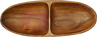 SDS HOME IMPORTS Natural Forested Acacia Wood Boat-Shaped Food Serving Tray Plate Appetizers with 2 Sections, 12.5