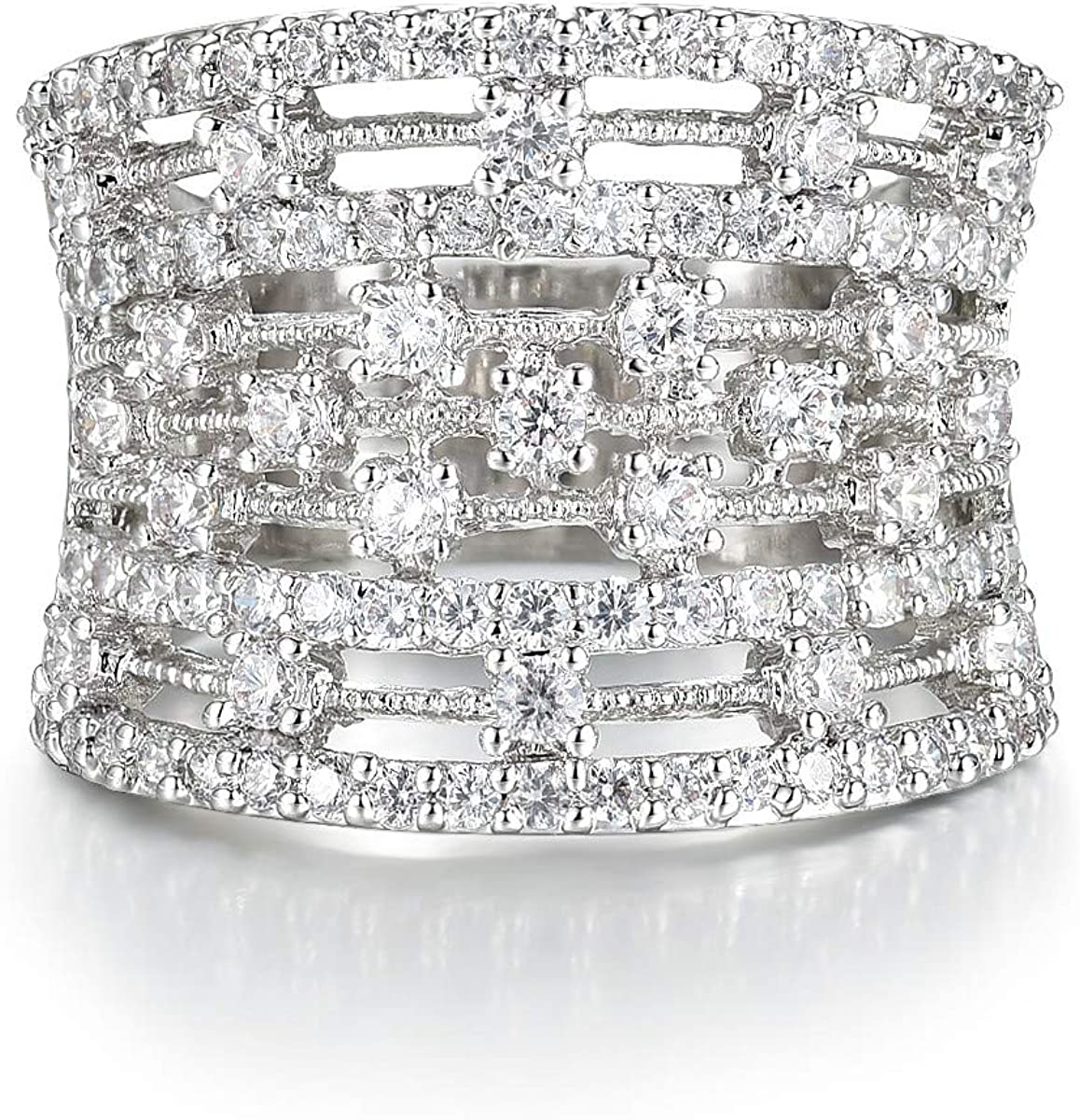 Delicin Jewelry Rhodium Plated Low price Popular product Cubic Eternity Band Cock Zirconia