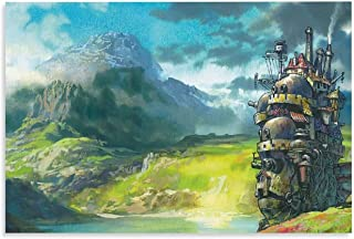 NIUASH Studio Ghibli Howl's Moving Castle Anime Canvas Art Poster and Wall Art Picture Print Modern Family Bedroom Decor P...