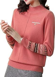 FOGUO Suéter De Cuello Alto para Mujer Cómodo Y Cálido Suéter Corto Informal Adecuado para Compras/Hogar/Al Aire Libre,Pin...