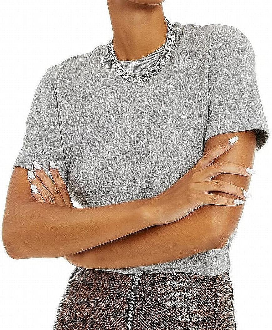 Danielle Bernstein Womens T-Shirt Bodysuit, Gray, Size M