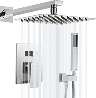 """Esnbia Shower System, Chrome Shower Faucet Set with Valve and 10"""" Rain Shower Head Systems Wall Mounted Shower Combo Set for Bathroom All Metal(Rough in Valve Include)"""