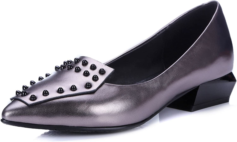 VIMISAOI Women's Genuine Leather Rivet Upper Loafer Flats shoes