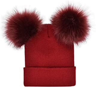 URIBAKE Women's Winter Warm Baggy Crochet Knit Double Faux Fur Pom Pom Ladies' Beanie Hat Cap