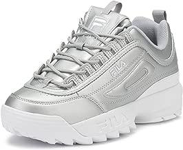 Fila Womens Metallic Silver Disruptor II Premium Sneakers
