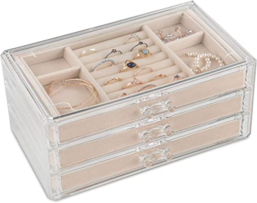 Acrylic Jewelry Organizer Box Women – 3 Drawers Clear Storage Case for Girls – Bracelet, Necklace & Ring Holder with ...