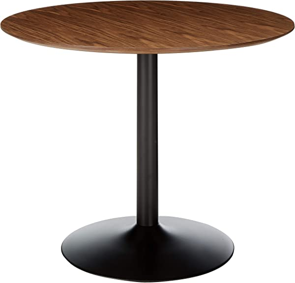 Montoya Round Dining Table With Metal Base Walnut And Black