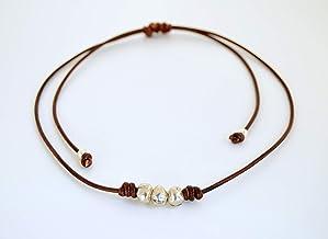 Semplice collana regolabile di perle di zama in argento fatto a mano, regalo per le donne