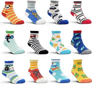 12 Pairs Kids Non Slip Skid Socks Colorful Grips Sticky Slippery Cotton Crew Socks For 5-7 Years Old Children Youth Boy Girl