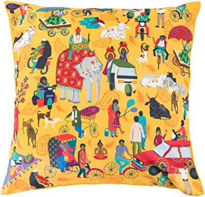"""Chumbak Polyester Blend Indian Traffic Cushion Cover (Yellow, 16"""")"""
