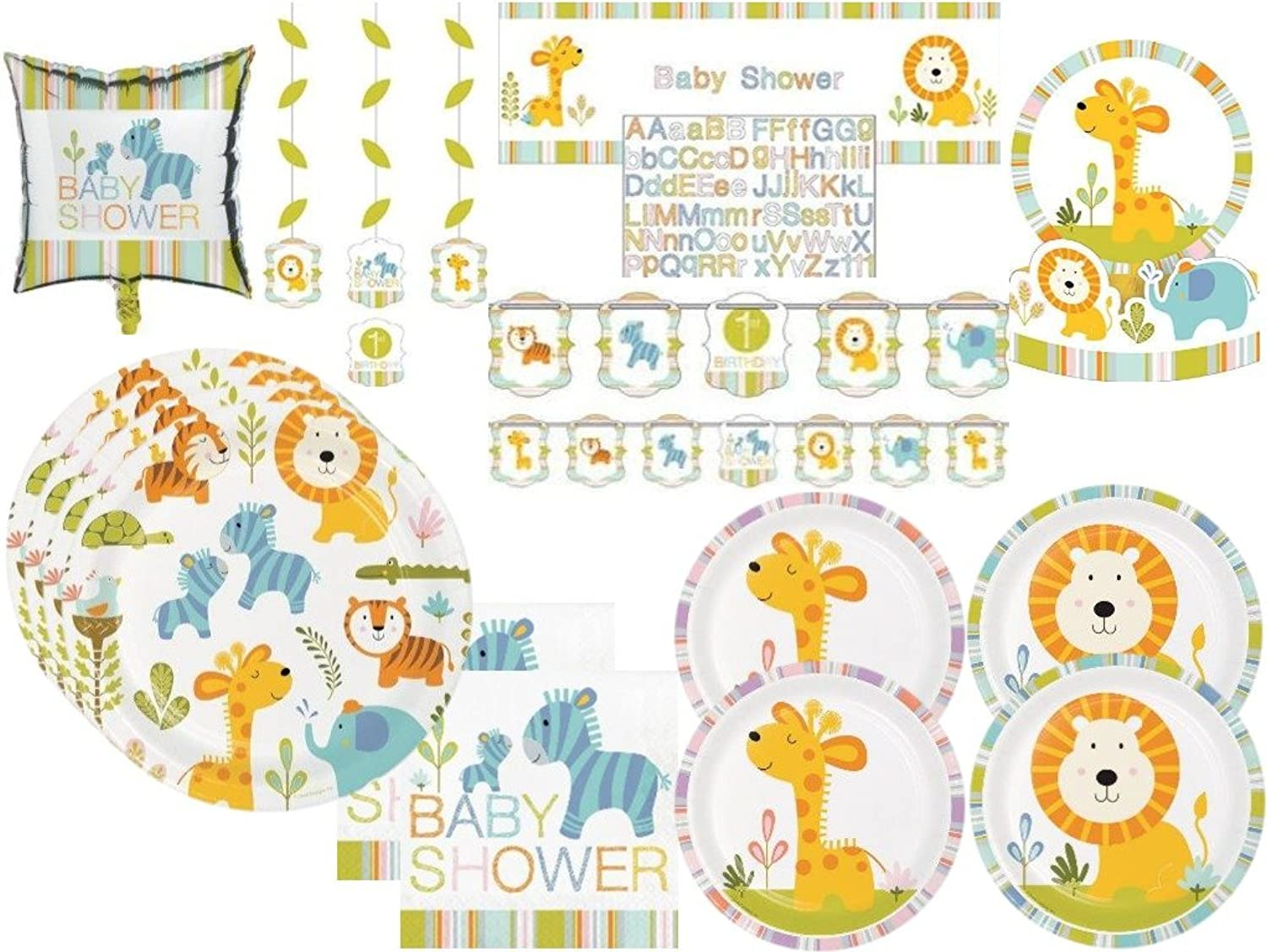 Baby Shower Happi Jungle Safari Lion, Giraffe, Turtle, Elephants Deluxe Party Tableware & Decorations Kit for 32 Guests