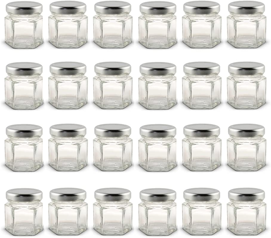 1 5 Oz Hexagon Mini Glass Jars With Silver Lids And Labels Pack Of 24