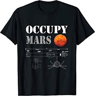 Occupy Mars Space Rocket blueprint T-Shirt