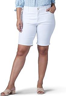 Lee womens Plus Size Flex Motion Regular Fit 5 Pocket Bermuda Short Denim Shorts