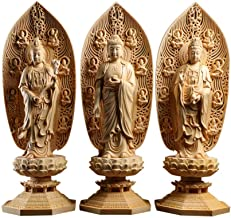 Sculptures Home Statues 3Pcs Western Three Buddha Cypress Wood Statue Feng Shui Buddha Hall Worshiping Amitabha Guanyin Bo...