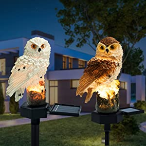 Solar Lights Outdoor Garden Ornaments 2pices Animals Resin Owls Solar led Lights Outdoor Garden Stake Waterproof Lighting for Flower Fence, Lawn, Patio, Walkway, Summer Party, Halloween Lights Gifts