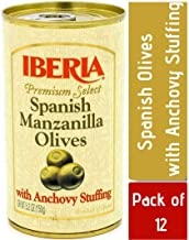 Iberia Olives Stuffed with Anchovies, 5.25 Oz (Pack of 12), Premium Olives, Spanish Manzanilla Olives Stuffed with Anchovy, Olives from Spain Ideal for tapas, hors d'oeuvres or Olives for Martinis