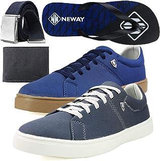 Kit Sapatenis Casual Neway SW Masculino Cinza + Azul + 1 Cinto + 1 Chinelo Neway + 1 Carteira