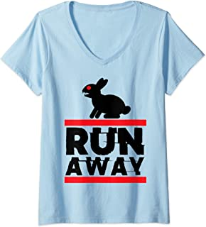 Womens Holy Killer Bunny Run Away Grail Quest Funny Gift V-Neck T-Shirt