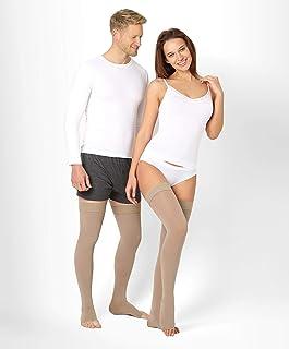 BeFit24, ®BeFit24 Medias de Compresión (23-32 mmHg, 120 Denieres, Clase 2) sin Puntera para Hombre y Mujer - Ideal para Embarazo, Varices y Circulación - [ Size 4 - Short: A - Beige ]