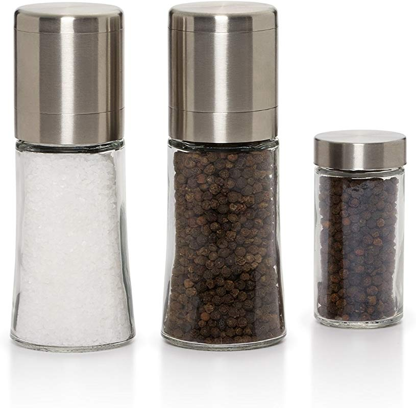 Kamenstein Elite Salt And Pepper Grinder Set With Free Spice Refills For 5 Years Stainless Steel