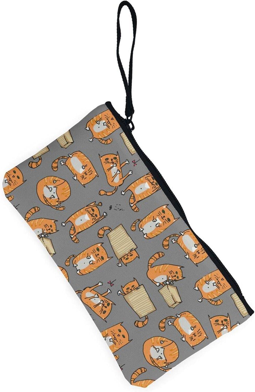 AORRUAM Orange Cats Canvas Coin Purse,Canvas Zipper Pencil Cases,Canvas Change Purse Pouch Mini Wallet Coin Bag