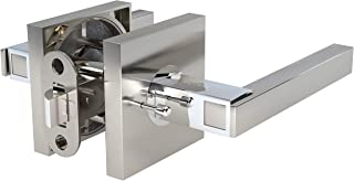 AVALON 0520 - Contemporary / Modern Door Handles / Levers (Privacy / Passage) in Satin Nickel - Polished Chrome Finish
