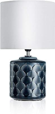 Pauleen 480.21 48021 Glowing Midnight Max.20W Luminaire à PoserE14 Lampe de Chevet Bleu Blanc 230V céramique/Tissu sans Ampoule