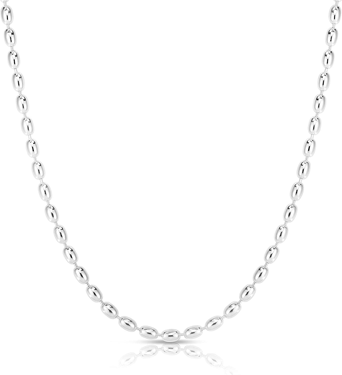 925 Oval Bead Chain Necklace made in Italy Sterling Silver 2.3 mm Rice Bead Chain