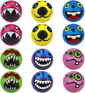 Funny Face Stress Ball 12 PCS Monster Squishy Balls (2.5 Inch) Cute Foam Ball Squeeze Toy to Release Stress (Monster Face)