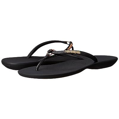 Havaianas Ring Flip Flops (Black/Black) Women