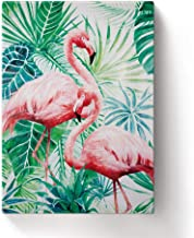 Elegant Flamingo Wall Decor Green Leaves Tropical Palm Wall Art Hand-Drawn Modern Framed Canvas Wall Paintings for Home Office 7.8x11.8in CXL1011-KLSM0037AGYHC