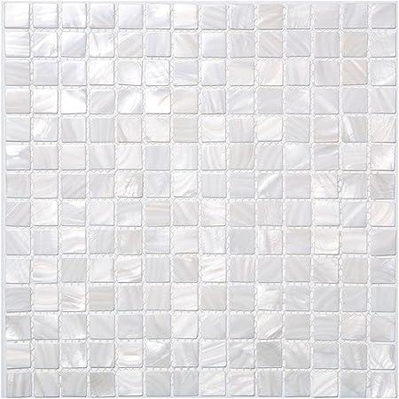 Lote de 10 mosaicos para ba/ño o cocina color blanco Art3d