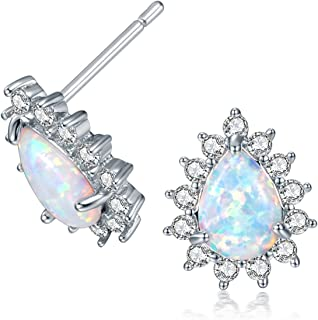 Opal Earrings 18K White Gold/Rose Gold Plated Flower Opal Stud Earrings for Women Hypoallergenic Birthstone Jewelry with Sensitive Ears