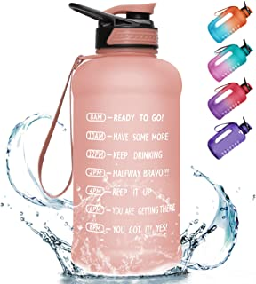 PASER 64oz Water Bottle with Straw & Dual Handle, BPA Free Water Jug Hydration with Motivational Time Marker Leak-Proof fo...