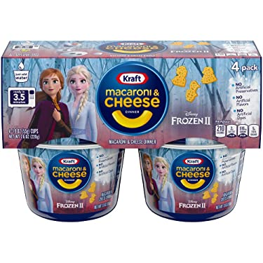 Kraft Easy Mac Frozen II Shapes Macaroni and Cheese Dinner 4 - 1.9 oz Cups