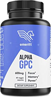 Alpha GPC Premium Choline - Pure Pharmaceutical Grade 600 mg Servings in Vegan Capsules to Support Brain Focus and Memory - No Soy Gluten-Free Non-GMO Supplement Made in USA - Emeritt