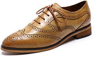 Womens Oxfords Shoes Leather Perforated Wingtip Lace up Flats Saddle Brogue Shoes for Womens Girls