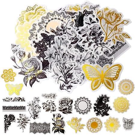 nuoshen 60 Pack d'Autocollants, Stickers Motifs Conte de Fées Plantes Fleurs Animaux Sauvages Papillons pour Scrapbooking, Ordinateur Portable