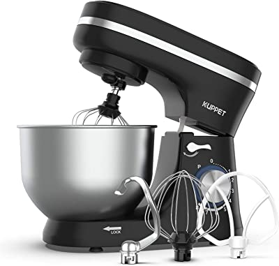 KUPPET Stand Mixer, 8-Speed Tilt-Head Electric Food Stand Mixer with Dough Hook, Wire Whip & Beater, Pouring Shield, 4.7QT Stainless Steel Bowl - Black