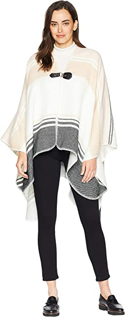 Stripe Buckle Cape Ruana